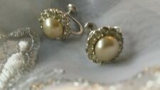 Vintage Scew Fastening Earrings Pretty Diamanté With Pearl Like Stone Centre