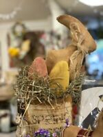 Folk Art Primitive bunny RABBIT easter Farm House Decoration HANDMADE