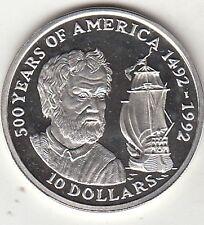 COOK ISLANDS 10 DOLLARS Colombo 1990 SILVER ARGENTO PROOF FONDO SPECCHIO