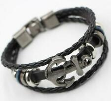 Cool Unisex Bracelet Men Leather Belt Boat Anchor Wristband Bangle Gift Black