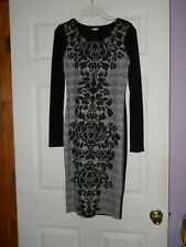 NWOT Venus dress, black and white, long sleeves, midi, body con, size XS