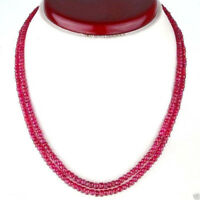 Natural 2x4mm 2 Row Brazil Red Ruby Faceted Roundel Gems Necklace 17-18'' JN994