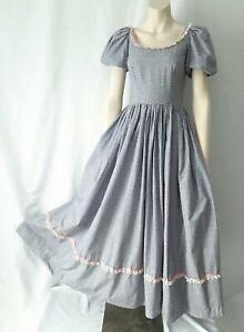 BOHO PRAIRIE Tiny Floral Print Cotton Vintage 1970s  Puff Sleeved MAXI DRESS