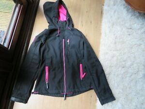 SUPERDRY WOMEN'S /GIRLS BLACK JACKET PINK LINING SIZE XS (8)  -  EX CONDITION