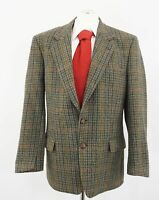 Harris Tweed Sakko Gr.26 grün kariert Einreiher 2-Knopf Wolle -C260