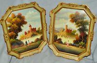 Paar kleine Ölgemälde Landschaften, Italien,Öl/Kupfer, sig.Wian,18x24 cm,gerahmt
