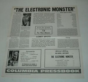 1960 The ELECTRONIC MONSTER PROMO MOVIE PRESSBOOK ROD CAMERON MARY MURPHY