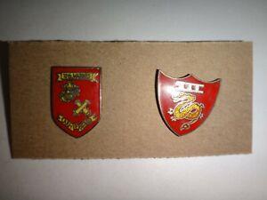 2 USMC Lapel Pins: 10h MARINE Regiment + 3rd marine AIRCRAFT WING III