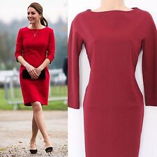 Beautiful L.K. BENNETT Kate Middleton Dress Maroon Red RRP £215 Size UK 12/14