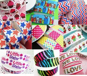 """10 yards Grosgrain 7/8"""" Ribbon/Supply/Craft/bow/party/kids RY-Pick Design 31-40"""