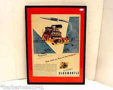 1949 Oldsmobile Futuristic Rocket Engine VINTAGE ORIGINAL FRAMED ART PRINT AD 49