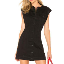 Alexander Wang X NWT 4 Women's Denim shirt Dress Black Rinse Sleeveless