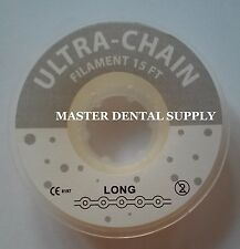 Dental Orthodontic Elastic Rubber Band Chain for Bracket Braces LONG 15 ft CLEAR