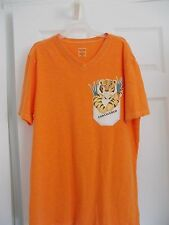UNISEX ORANGE V-NECK T-SHIRT/UNIQUE/TIGER/ENDANGERED DECAL/MOSSIMO SUP. CO. M/M