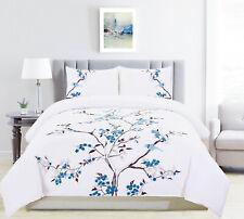 Caro 100% Cotton Embroidered Floral Bird Duvet Cover Set