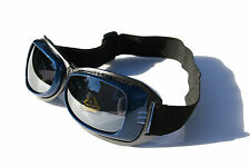 Blue Snowboarding Skiing Goggles Foam Padded Adjustable Strap Vented Motorcycle