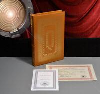 "Signed KIRK DOUGLAS Easton leather Autograph BOOK, ""I Am Spartacus""  COA, RIP"