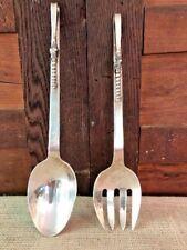 "Sanborns Sterling Silver Blossom Serving Fork and Spoon Set Mexico Vintage 11"""