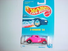 HOT WHEELS #451 3-WINDOW '34 WITH 7 SPOKE RIMS FREE USA SHIPPING