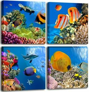 Ocean Canvas Wall Art Fish Artwork for Walls Blue Picture for Bathroom Bedroom
