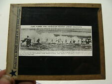 vintage magic lantern slide---TURN FLAMES & VANDALISM AGAINST JEWISH COLONISTS