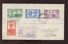 BECHUANALAND 1947 ROYAL VISIT SET REGIST.CACHET to SA