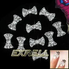 10x Sticker 3D FARFALLE Argento in Lega Strass Nail Art Ricostruzione Unghie
