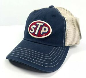 STP Gas / Oil Mesh Trucker Hat / Cap - Dark Blue / Khaki