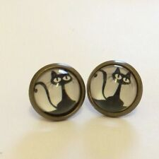 black Pussy cat Face gothic kitsch gift Steampunk Funky Stud Fashion Earrings