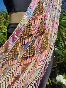Egyptian Bellydance Belly Dance Bellydancing Pink Hip scarf beaded no coin 902