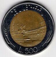 1982  ITALY 500 LIRE BI-METALLIC  NICE WORLD COIN
