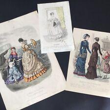 LOT 3 GRAVURES DE MODE 1837 1868 1880 Eventail Fashion 19thC Etchings