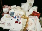 33 Vintage Tablecloth Runner Doily Scarf Embroidery Linen Doily Craft Mixed LOT