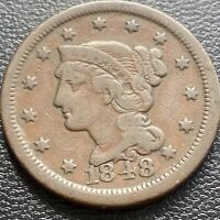 1848 Large Cent Braided Hair One Cent 1c Better Grade DOUBLED DATE  #29021