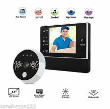 "3X Zoom 3.5"" Door Doorbell Peephole Viewer IR Camera DVR Night Vision Wide Lens"