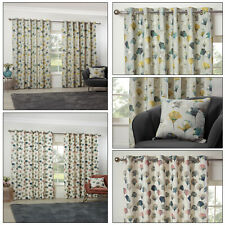 Modern Floral Eyelet Curtains Bright Spring Flower Lined Ring Top Curtains Pair