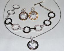 Silver Tone SWAROVSKI Swan Rhinestone CIRCLE Necklace Earring Bracelet Set F4