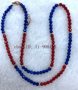New 4mm Red Ruby & Blue Sapphire Round Faceted Gemstone Necklace 16-24 inches