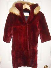 Girl Coat REAL Rabbit Burgundy FUR custom-made Red Fox trim detach hood lined