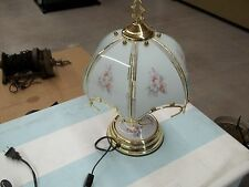 "14"" TIFFANY STYLE FLORAL MINI LAMP.  BRASS PLATED TRIM   VERY NICE CONDITION"