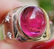 Top Hot Pink Tourmaline Cabochon Diamond 18k white gold ring/band