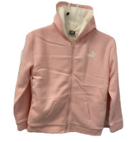 Puma Girl's Sherpa Lined Zip Up Hoodie Jacket Color Pink/White Size L-14/16 NWT