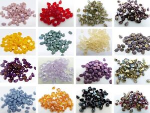 5MM PINCHED BICONE CZECH GLASS BEADS - VARIOUS COLOURS - PACK OF 100