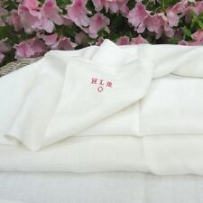 Vintage French Linen Dish Towel, Monogrammed, 43 ¼� x 31 ½�