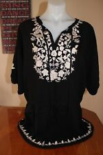 """*NOW* Black & White Pull Over Beach Blouse / Shirt Plus Size 16-18  """"AS NEW"""""""