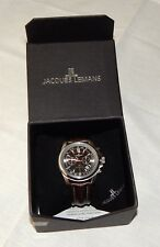 Jacques Lemans Liverpool 44mm Stainless & Leather Men's Watch NEW 1-1117.1WN