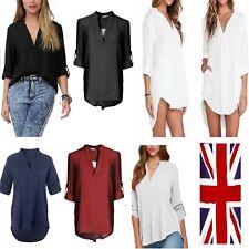 Women blouse chiffon long sleeve ladies T shirt CASUAL loose short dress tops*CS
