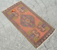 Vintage Door Mat Rug,Small Size Oushak Rug,Turkish Yastik Rug Vintage Yastic Rug,1/'7 x 3/'4 ft Bathroom Rug,Bath Mat Rug,Mini Rug 1021