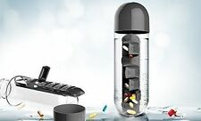 Asobu Combine Daily Pill Box Organizer with Water Bottle, Black