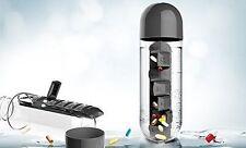 Asobu Combine Daily Pill Box Organizer with Water Bottle, Black